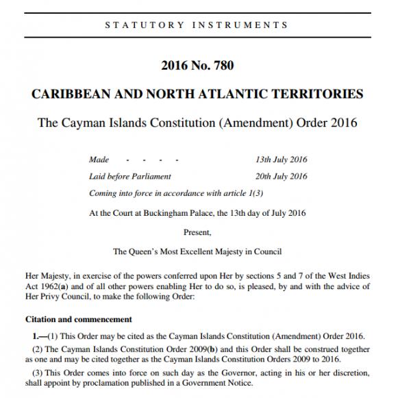 Cayman Islands Constitution (Amendment) Order 2016