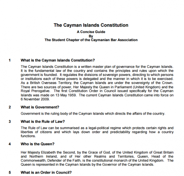The Caymanian Bar Association's Concise Guide to the Cayman Islands Constitution