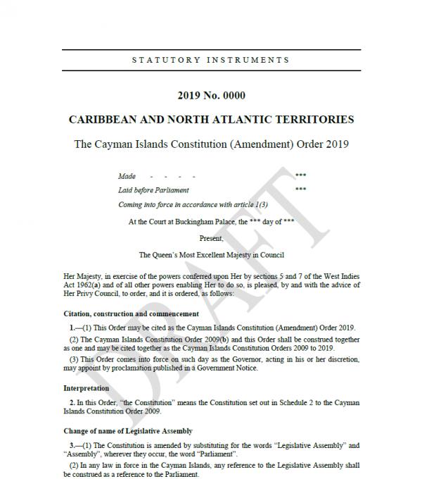 Draft Cayman Islands Constitution (Amendment) Order 2019